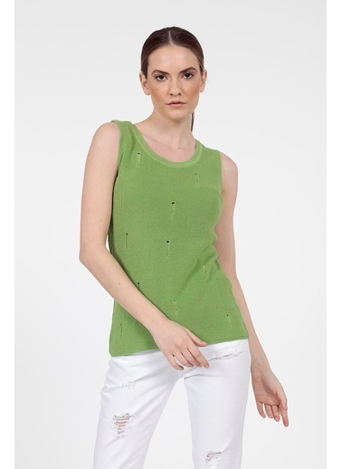 Vitrin Sıfır Kollu Yırtık Detaylı Triko Bluz Yeşil